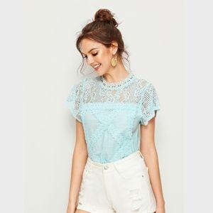 Light Turquoise Blue Lace & Crochet Detail Top